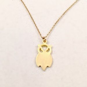 18KT Plated Small Owl Charm Necklace